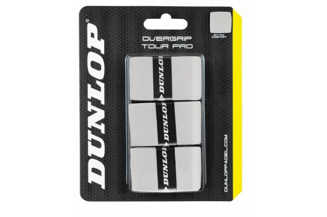 Padel racket overgrip Dunlop TOUR PRO 3-blister white, Padel racket overgrip Dunlop TOUR PRO 3-blister white
